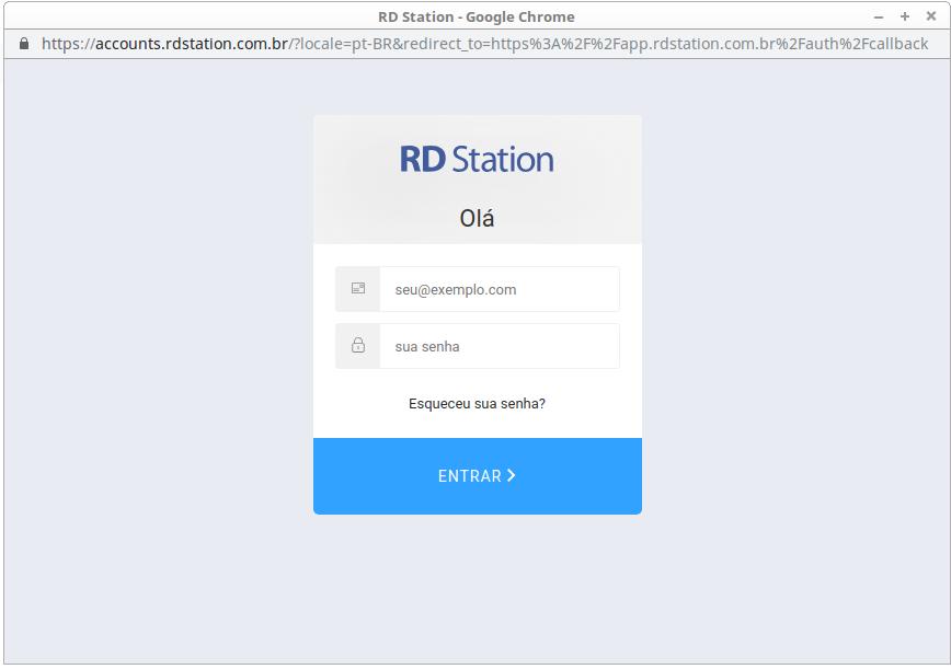 Tela login RD Station
